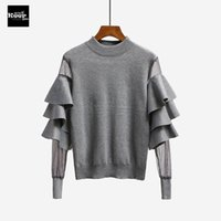 Wholesale Basic Top Women Sleeve - 2017 New Autumn Runway Designer Women Sweater Pullover Tops Ruffle Mesh Sheer Knitted Patchwork Basic Knitted Sweaters Pullovers