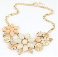 Wholesale Light Acrylic Necklace Flower - New bohemian milky light pink faceted resin stones flower ribbon necklace