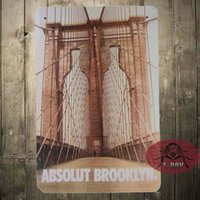 Targa in metallo ABSOLUT BROOKLYN negozio Game Room Art Marquee Consol metallo Decor A-24 160909 #
