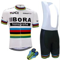 Wholesale Uci Bib Cycling - 2017 uci world champion peter sagan pro team bora cycling jersey short sleeve Bicycle ropa ciclismo men summer bike bib pants MTB wear