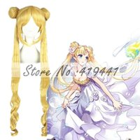 Wholesale Sailor Moon Wigs - Wholesale-Free Shipping 100cm Long Curly Sailor Moon wigs Blonde Party Hair Synthetic Anime cosplay Costume wigs