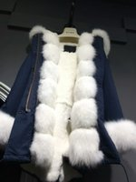Wholesale Ladies Fashion Rabbit Fur Jacket - Mr&Mrs White furs Parka Fur-trimmed two side placket and sleeve fox furs Rabbit furs lining Ladies cotton canvas jacket