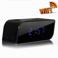Wholesale night vision alarm clock cameras for sale - New P2P wireless WiFi mini camera H P night vision IP camera motion detection view alarm clock home office security DV