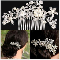 Wholesale Wholesale Wedding Hair Pieces - Bridal Wedding Tiaras Hair Combs Hairpin Head pieces Jewelry Accessories Rhinestones Pearl Butterfly Hair Claws for Bride wholesale