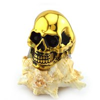 Wholesale Crystal Skulls For Sale - 2016 Hot sales Gold Skull Rings Popular High Quality Free Shipping Black Eyes Plating Punk Ring for Men's Size 8-13#