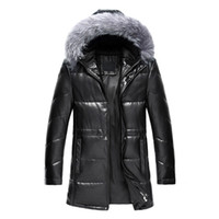Wholesale Pu Leather Jacket Hood - Fall-2016 New Winter Thick Warm Solid Men Withe Duck Down Coat High Quality PU Leather Jacket Parka With Real Fox Fur Hood