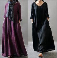 Wholesale Womens Long Length Loose Tops - Trendy Plus Size Casual Dresses 2017 Long Loose Womens Dress Cotton Linen Long Sleeve Maxi Dress Vintage Tops Kaftan Clothing