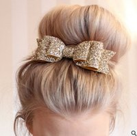 Wholesale Popular Baby Headbands - Kids bows hair bands popular bright pink glitter dovetail golden bows hair accessory baby girls three layers sequins bows headbands T0061