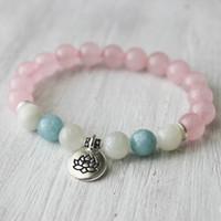 Wholesale Aquamarine Stone Jewelry - SN1031 Trendy Lotus Women`s Bracelet Nature Stone Bracelet Aquamarine Bracelet Top Quality Rose Quartz Yoga Jewelry Healing Bracelet