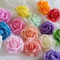 fleurs en mousse achat en gros de-En gros 100 pcs Fleurs Artificielles Rose Artificielle 6cm Fleurs En Mousse Pour Bouquets De Mariée Décor De MariageDécoration À La Maison