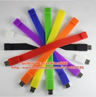 Wholesale Usb Flash Bracelets - Fashion Silicone Bracelet 4GB 2GB 16GB 8GB 1GB USB 2.0 Flash Memory Stick Pen Drive Thumb U Disk