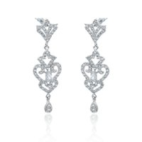 Wholesale Cheap Diamond Shaped Earrings - cheap drop earrings Beauteous Platinum Plated Bridal Earrings for Women Imitated Diamond Chandelier Shape Drop Earring