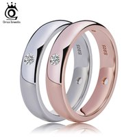 Wholesale Cz Rings Bands - ORSA Rose Gold Women Wedding Bands with 4 Pieces Clear CZ Diamond Bezel Setting Top Quality Ring Wholesale OR61