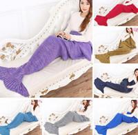 Wholesale Wholesale Japan Towel - Mermaid Tail Blanket Super Soft Warmer Blanket Crocheted Sofa Blanket ADULT 195*95cm Air-condition Blanket Autumn Winter 7 color
