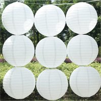 Wholesale 16 Birthday Cakes - 10pcs lot 16 inch(40cm) Chinese Round White Paper Lanterns lamps for Wedding Party Home Decoration oliday party supplies