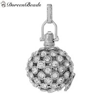"""Wholesale Silver Tone Jewelry Box - Copper Wish Box Pendants Silver Tone Round Hollow Can Open(Fit Bead Size: 20mm)48mm(1 7 8"""")x 29mm ,1 PC 2016 new Free shipping jewelry makin"""