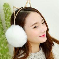 Women Diamonte trimmed Fur Cat Earmuffs Winter Warm 2in 1 Rhinestone headband Ear Muffs 10pcs lot