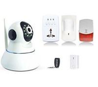 seguridad inteligente gsm al por mayor-Cámara IP Safearmed®-WIFI GSM IOS Android APP Sistema de alarma de seguridad antirrobo inalámbrico inteligente para el hogar- addpoweradd EXCLUSIVO