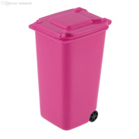 Wholesale Stationery Organiser - Wholesale-Fashion high quantity Mini Wheelie Bin Desk Tidy Office Desktop Stationery Organiser Pencil Holder-rose red