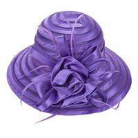 organza derby chapéus mulheres venda por atacado-Mais novo Malha Kentucky Derby Chapéu Da Igreja Para As Mulheres Organza Chapéu de Aba Larga Tampas Planas 9 Cores Frete Grátis