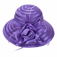 Wholesale Wide Hats - Newest Mesh Kentucky Derby Church Hat For Women Organza Hat Wide Brim Flat Caps 9 Colors Free Shipping