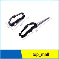 Wholesale Black D Key - Black whhite Carabiners Heavy Duty D Shape Carabiner Clip-On Clamp Key Chain Hook 50pcs with Dual Knife& LED Torch Durable Professiona