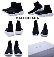 Wholesale Shoe Materials - 2017 PARIS Original Material Italy Balen Stretch-knit Mid Speed Sock Running Shoes For Men&Women Black White Summer Sneakers Size 36 -45