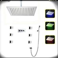 led pirinç banyo toptan satış-Lüks LED Duş Başlığı Ve pirinç krom Pirinç vücut jetleri Duvara Monte Banyo Yağış Duş Seti