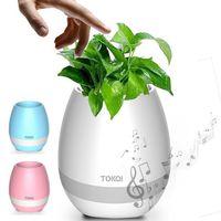 ingrosso illuminazione bonsai-Smart Bluetooth Music Garden Bonsai Music Flower Pot Luce notturna Smart Touch Fioriere Vasi Lampada ricaricabile Bluetooth senza fili Planter