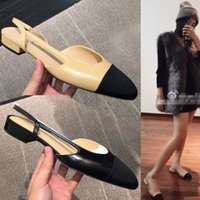 Jhe10L Black Khaki Thong Sandálias fechadas Toe Slingbacks Office Lady Flat Heels Sandálias Mulheres Genuine Leather Wedding Pumps Shoes Sz 35-42
