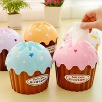 Atacado- New Lovely Adorável HOT Ice Cream Cupcake Tissue Box Toalha Holder Paper Container Dispenser Cover Home Decor cor aleatória