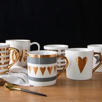 Wholesale love lens for sale - Group buy Gold Painting Porcelain Milk Cup Ceramic Coffee Tumbler Creative Design Love Mug Heat Resisting md C R