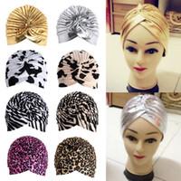 Wholesale Crochet Head Band Women - Stretchy Turban Head Wrap Band Sleep Hat Chemo Bandana Hijab Pleated Indian Cap Knit Headband Beanie Crochet Women Hat Cap W1