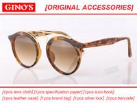 Wholesale Lentes Vintage - 2017 new Great Quality glass lens Sunglasses Round Vintage Steampunk Glasses Men Women Gold Double Bridge lentes de sol hombre mirror gafa