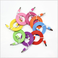 Wholesale 1M FT Noodle Flat Data USB Charging Cords Charger Cable Line Micro V8 for i S S S Plus and Samsung HTC Android Phone MQ200