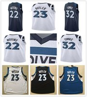 Wholesale Butler Jerseys - 2017-2018 New Style #23 Jimmy Butler Jersey Latest Mens White Navy Blue #22 Andrew Wiggins #32 Karl Anthony Towns Basketball Jerseys
