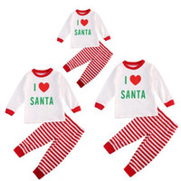 Wholesale Family Christmas Sleepwear - Xmas Family Matching Pjs Clothing Set Christmas Pajamas Sets Festivel Sleepwear Nightwear Adult Kids I love Santa Clothes
