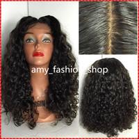 perucas remy indianas da parte dianteira do laço venda por atacado-Malásia Curly indiano remy cabelo humano perucas cheias do laço perucas frente