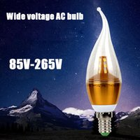 Wholesale E14 Led Smd Small - Wide Voltage 85-265V AC Led Candle Lamp E14 Small Snail Mouth Energy Saving Light Bulbs Pull The Tail Tip Bulb Crystal Chandelier Bulb