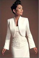 Wholesale Sleeve Satin Bridal Bolero Ivory - P1 Wedding Jackets Bridal With Long Sleeves Satin White Ivory Bride Shrug Coat For Evening Party Bolero Renda
