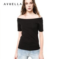 Wholesale Slash Clothes - AVUELLA 2017 Womens Clothing Summer Women T Shirt Short Sleeve Slash Neck Cotton Solid Color Tops Tees Female Ladies T-Shirt for women