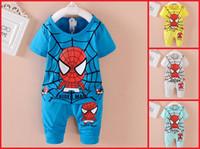 Wholesale Spider Man Clothing Cheap - Spider-Man cartoon boy summer suit (short sleeve + pants) 2016 Spring & Summer cheap baby clothes kids clothes 4set 8pcs A1