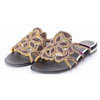 Wholesale Ladies Low Heel Rhinestone Sandals - hot sale 2016 European Women Sandals Cut-outs Fashion Ladies Summer Sexy Flowers Rhinestone Slippers New Flats Beach Shoes Big Size 34-44