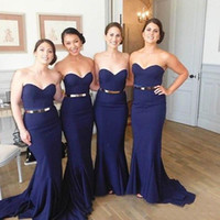 Wholesale Satin Sweetheart Wedding Fitted - 2017 Mermaid Bridesmaids Dresses Navy Blue Fitted Sweetheart Neckline Sleeveless Wedding Party Gowns with Sash Sweep Train Cheap