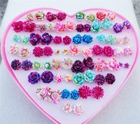Wholesale Kid Earrings Wholesale - 36pairs lot Mix Colorful Resin Flower Fashion Elegant Kids Girls Stud Earrings Jewelry For Women