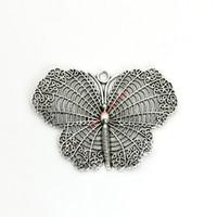 kelebek zanaat gümüşü toptan satış-2 adet Antik Gümüş Kaplama Kelebek Charms Kolye Bilezik Takı Yapımı için DIY Kolye Craft El Yapımı