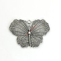 Wholesale gold butterfly pendant necklace - 2pcs Antique Silver Plated Butterfly Charms Pendants for Bracelet Jewelry Making DIY Necklace Craft Handmade