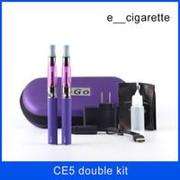 Wholesale Metal Ego Carry Case - ego CE5 double kit 2 Electronic Cigarette kits CE5 Atomizer 650mah 900mah 1100mah 2 e Cigarette in Zipper carrying Case DHL Free Shipping