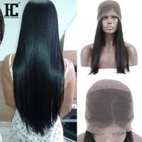 Wholesale Mongolian Remy Lace Frontal - HC 360 Lace Frontal Wigs For Black Women 150% Density Brazilian Straight Remy Human Hair Wigs 10 to 22inch Pre Plucked Hairline