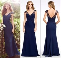 Wholesale Cheap Couture Gowns - Jim Couture 2018 Cheap Mermaid Bridesmaids Dresses V Neck Navy Blue Lace Wedding Guest Dress Long Country Junior Bridesmaid Gowns